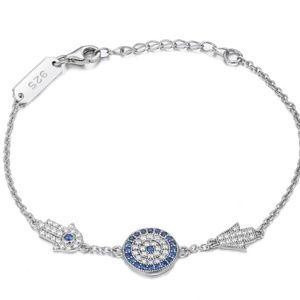 100% Pure Sterling Silver Hamsa Evil Eye Bracelet